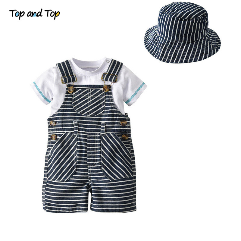 Top and Top Summer Baby Boy Clothing Set Cotton Baby Clothes Short Sleeve T-shirt+Striped Suspenders Shorts+Hat Casual Outfit fashion baby girl t shirt set cotton heart print shirt hole denim cropped trousers casual polka dot children clothing set