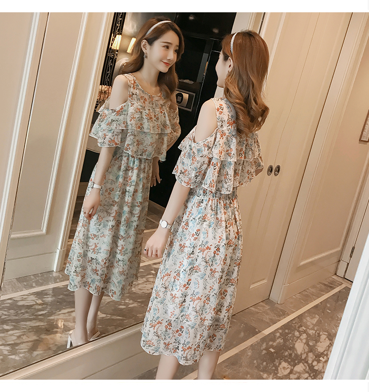 Pregnant Nursing Dress Off Shoulder print Maternity Breastfeeding Dresses For Photo Shoot Chiffon Maternity Dress Party Clothes 80