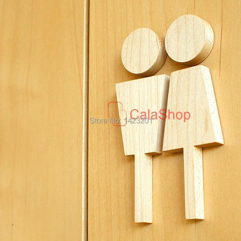 1 pair lot 130mmx85mm wood sign restroom bathroom door signs men and ladies unisex modern