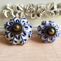 Blue Leaf Hand Painted Ceramic Pumpkin Knobs for Dresser Drawer Kitchen Cabinet Door Cupboard Pulls Handles