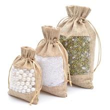 Organza ถุงปอกระเจา Burlap งานแต่งงานโปรดปรานของขวัญถุงสำหรับกาแฟ Beans Candy แต่งหน้าเครื่องประดับบรรจุภัณฑ์ 50 pcs