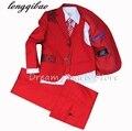 (Casacos + Calça + Colete + Gravata + Lenço) Menino Ternos Flor da menina Slim Fit Tuxedo Marca de Moda Vestido de Casamento Bridegroon Ternos Blazer vermelho