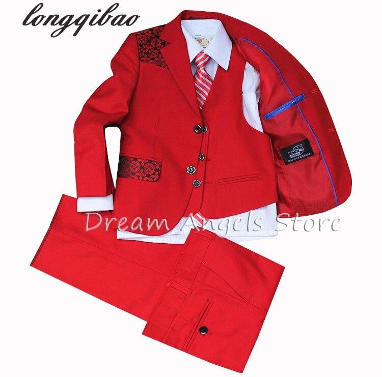 (Jackets+Vest+Pants+Tie+Cravat) Boy Suits Flower girl Slim Fit Tuxedo Brand Fashion Bridegroon Dress Wedding red Suits Blazer
