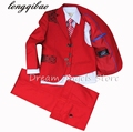(Jackets+Vest+Pants+Tie+Cravat) Boy Suits Flower girl  Slim Fit Tuxedo Brand Fashion Bridegroon Dress Wedding red Suits Blazer