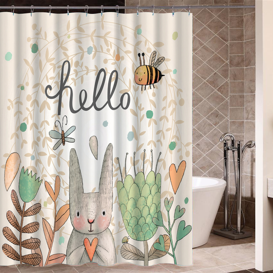 Flower Rabbit Shower Curtain High Quality Polyester Fabric Waterproof Mildewproof For Bathing