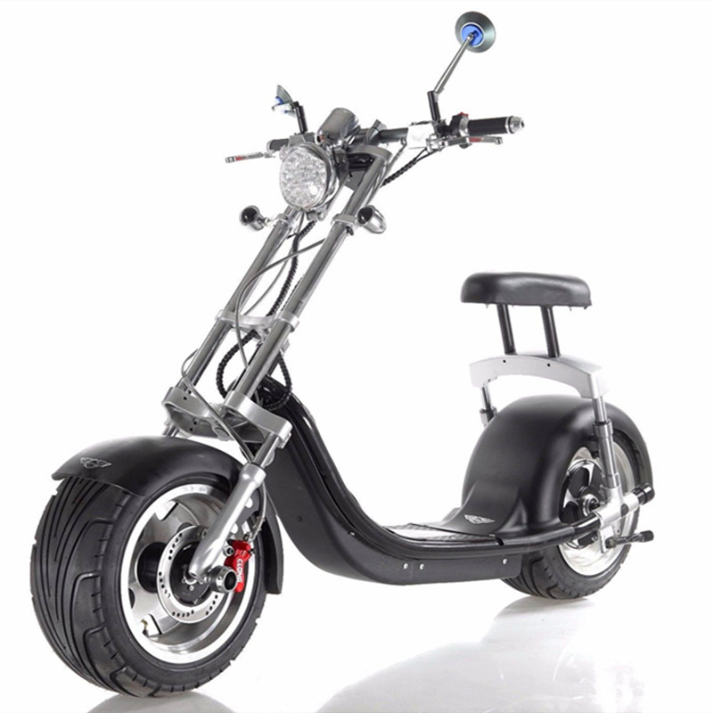 18*9.5 Car Tyre Seev Citycoco Harley Style 1200W Brushless 2 Wheel Electric Scooter Motor 200kg max load fat tire bike for Sale