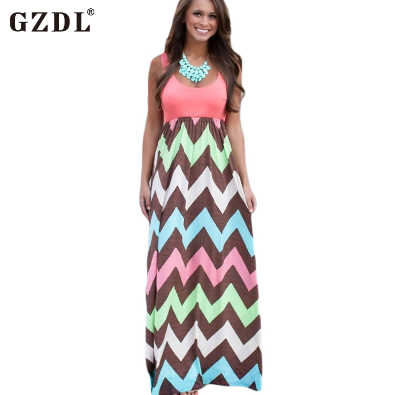 51e40d3e863 Summer Women Sleeveless Chevron Striped Print Casual Empire Tunic Beach  Boho Bohemian Party Long Maxi Dress Sundress CL2033-in Dresses from Women s  Clothing ...