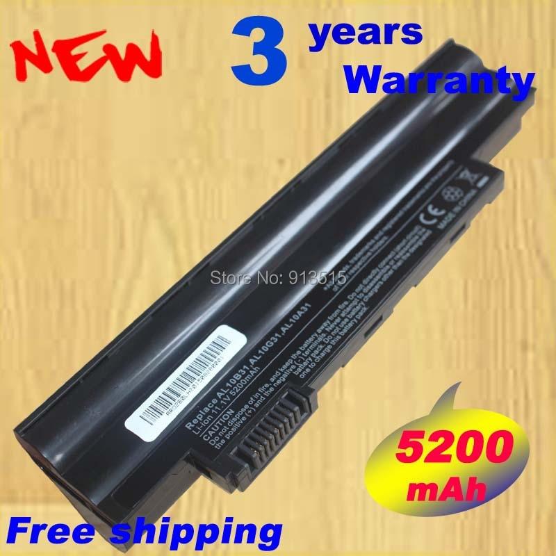 5200 mAh batterie d'ordinateur portable pour Acer Aspire One D255 522 722 AOD255 AOD260 D255E D257 D260 D270 E100 D257E AL10A31 AL10B31 AL10G31
