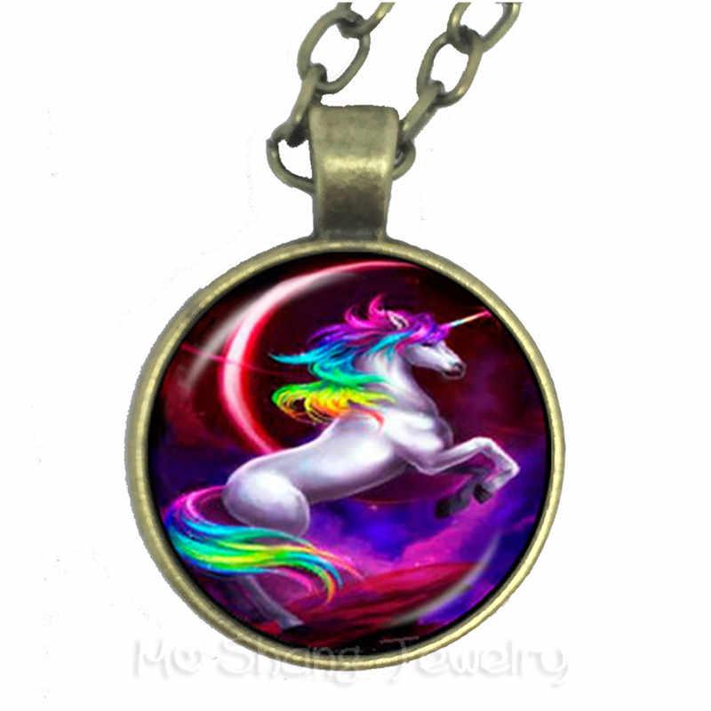 عقد من الزجاج موضة يونيكورن الفن قلادة الزجاج صور كابوشون قبة مجوهرات الوقت جوهرة سترة سلسلة هدية لمحبي الحصان