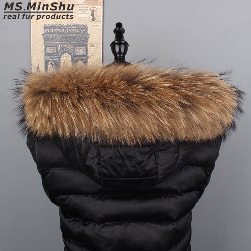 Ms MinShu Raccoon Fur Collar Naturlig Fur Trim Hoodie Custom Made Fox Fur Collar Trim til Down Coat Hood Natural Fur Collar