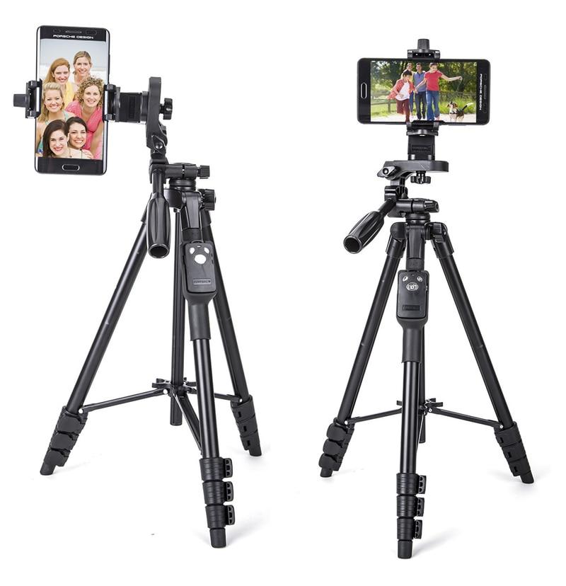 Yunteng 5218 Self Stick Portable Camera Tripod Bluetooth Remote Controller Adjustable Clip for Photograph Camera Phone