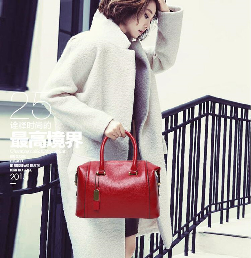 Luxury Geunine Leather Women Boston Tote Bag Pillow Handbag Ladies Messenger Bag Real Leather for Elegant Ladies Removable Belt