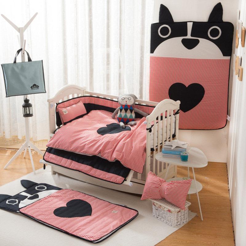 Adorable cartoon fashion  crib bumpers baby cotton duvet cover pillowcase 6 pcs bedding set bag climbing pad around the bed duvet cover brushed twill from dianoche designs home decor and bedding ideas by carrie schmitt good morning sunshine