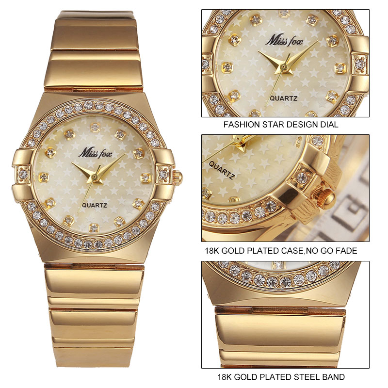 MISSFOX Miss Fox Fashion Watch Women 2018 Silver Waterproof Ladies Watches Luxury Bracelet Women Watches Gold Relogio Feminino in Women 39 s Watches from Watches