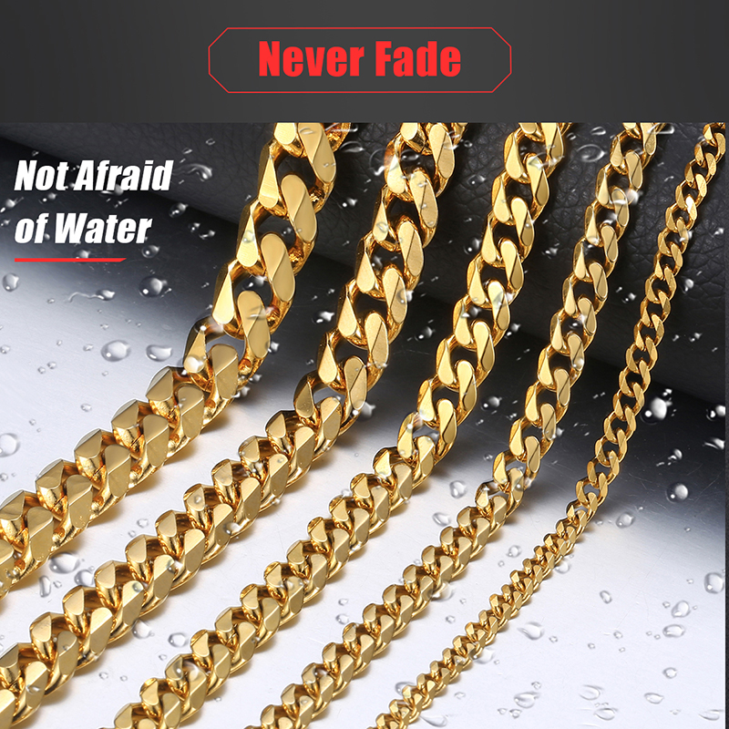 Mens Necklaces Chains Stainless Steel Silver Black Gold Necklace for Men Women Curb Cuban Davieslee Jewelry 3/5/7/9/11mm DLKNM08 3