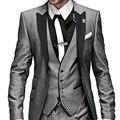 Estilo de la mañana Gris Un Botón Del Novio Esmoquin Mejor Hombre 2 Estilos para Los Padrinos de Boda Hombres Wedding Los Trajes Del Novio (Jacket + Pants + Tie + Vest)