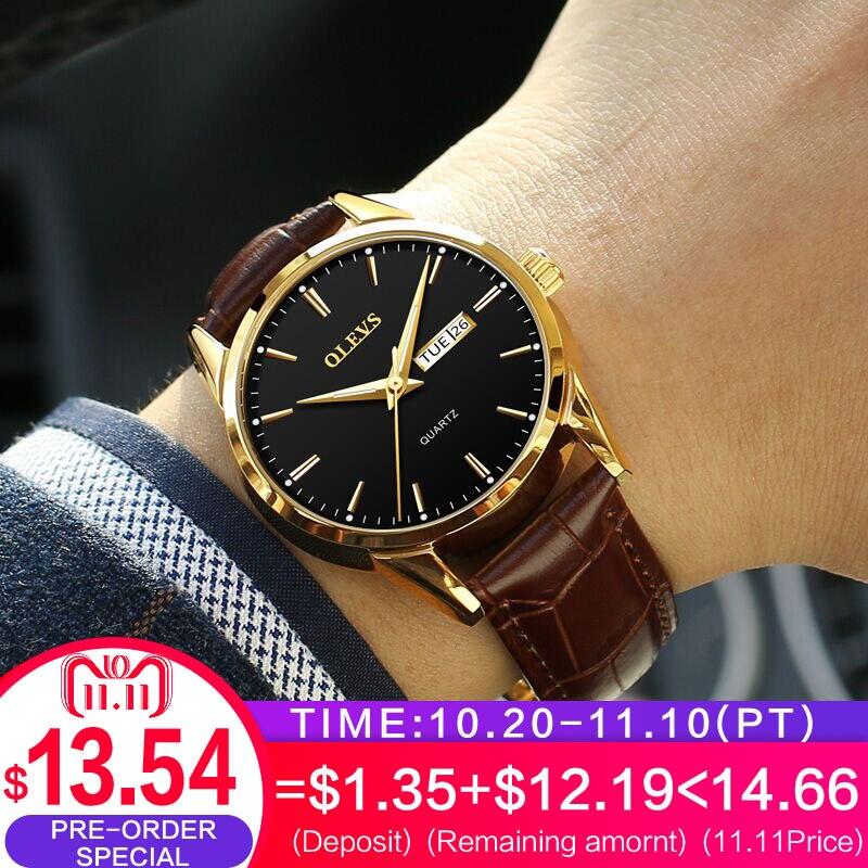 OLEVS Mens Watches Top Brand Luxury Quartz Wrist watch reloj hombre Fashion Casual Business Leather Men Watch Relogio Masculino недорго, оригинальная цена