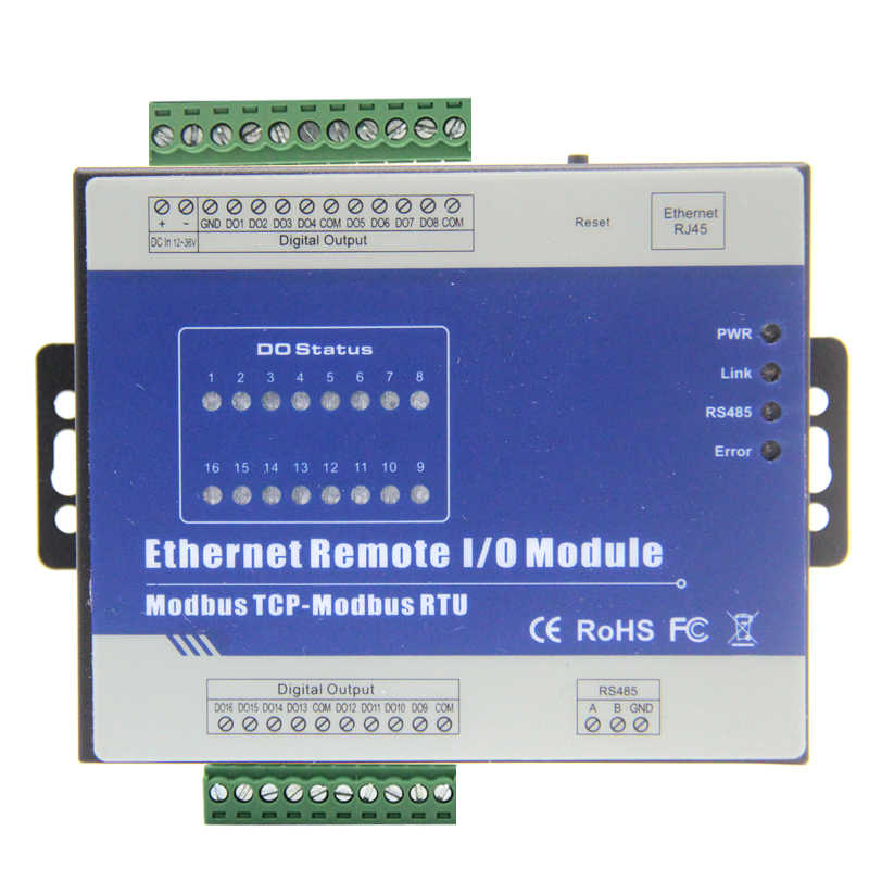 RS485 Serial to Ethernet Converter Remote IO Module supports Modbus TCP High Speed Pulse Output Stepper motor Control 16 DO