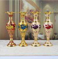 8.6X8.6X30CM Europe Retro gold rose metal flowers vases for weddings Table vase Home decoration vase crafts gifts HP079