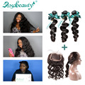 Ivy Powell recommend Rosabeautyhair Products 360 Band Lace Frontal Bleached Knots Loose wave with 3 Bundles 4Pcs Brazilian Hair