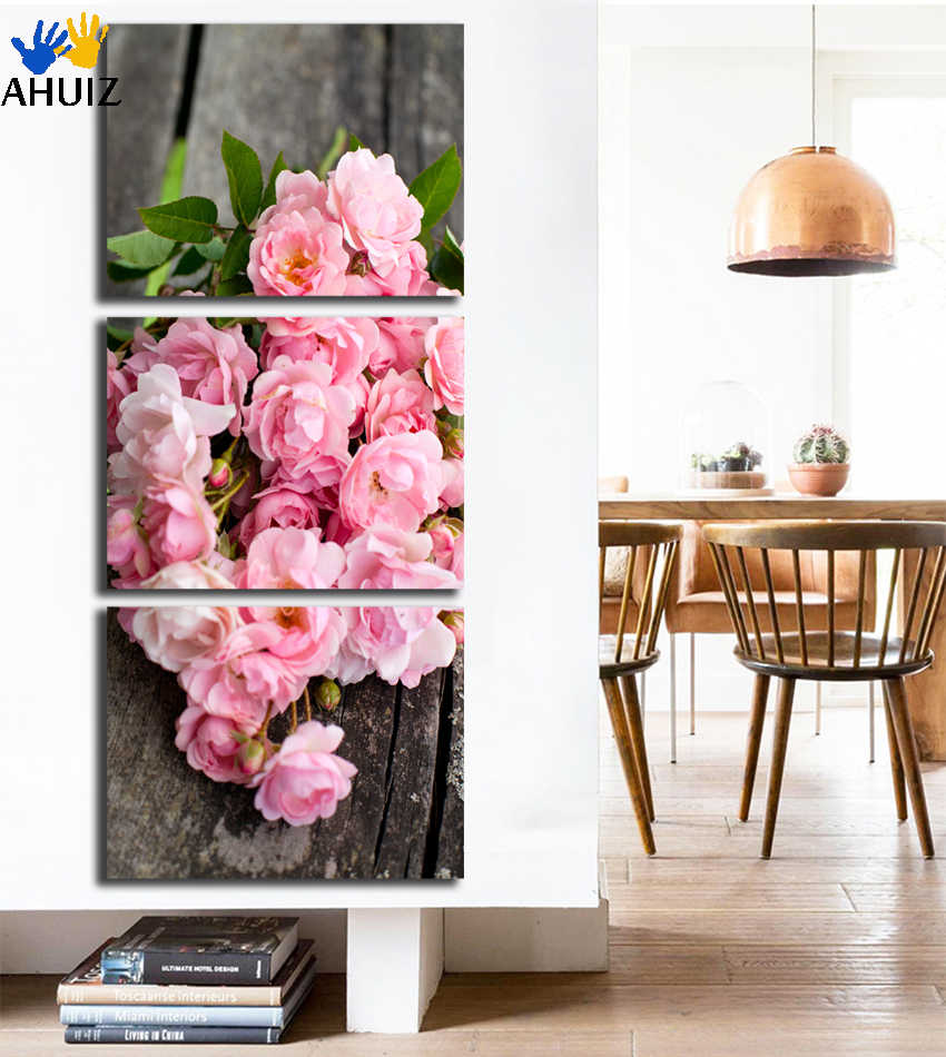 3 Panel Pictures Canvas Painting Pink Rose Flower Painting Wall Art Decorative Canvas Wall Art Modular Picture Unframed FA270