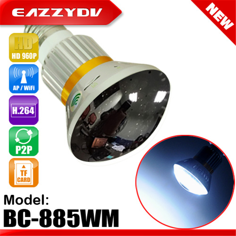 imágenes para EAZZYDV BC-885YM/WM HD Espejo de 1.3MP 960 P P2P WiFi Bombilla/AP IP Cámara de red con 5 W Lámparas LED de Visión Nocturna y de Movimiento Dection