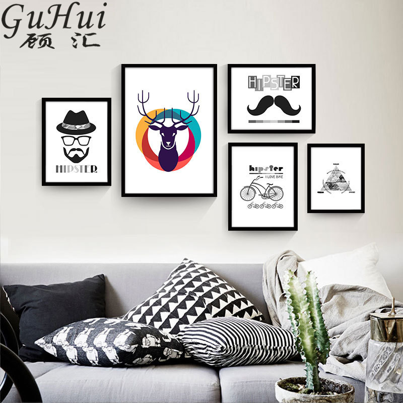 Nordic black white personalized combination picture geometric pyramid canvas decorative painting colorful deer hipster posters in painting calligraphy