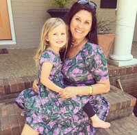 Printing Mom And Daughter Dress Short Sleeve Round Neck Matching Outfits Summer Dress Leaf Print Family