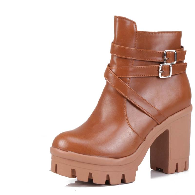 Women Ankle Boots Square High Heels Spring Autumn Outdoor Casual Dress Shoes Platform Half Knee High Motorcycle Boots newest women half knee high motorcycle boots vintage chunky heels spring autumn outdoor platform shoes woman female boots