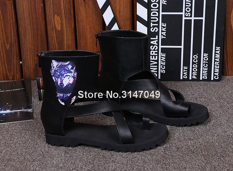 Hommes gladiateur été haut-haut sandale bottes noir Rome sangle chaussures décontractées OKHOTCN Cool plage glisser chaussures grande taille tongs - 3