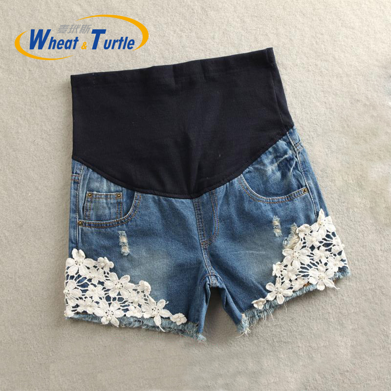 2017 Sommar New Arrival Maternity Sommar Korta Jeans Mest Hot Sale Lace Dekorerad Pop Hot Pant Denim Jeans För Gravida Kvinnor