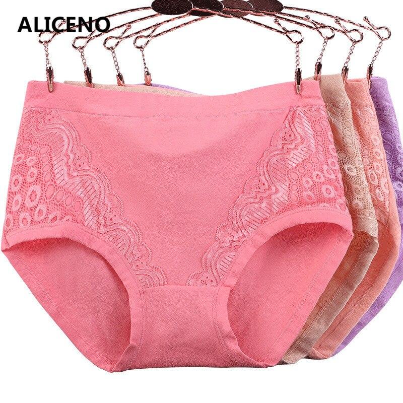 3 pçs/lote XL-6XL tamanho grande de cintura alta calcinha feminina sólida algodão briefs underwear senhora sexy rendas sem costura cuecas 6634