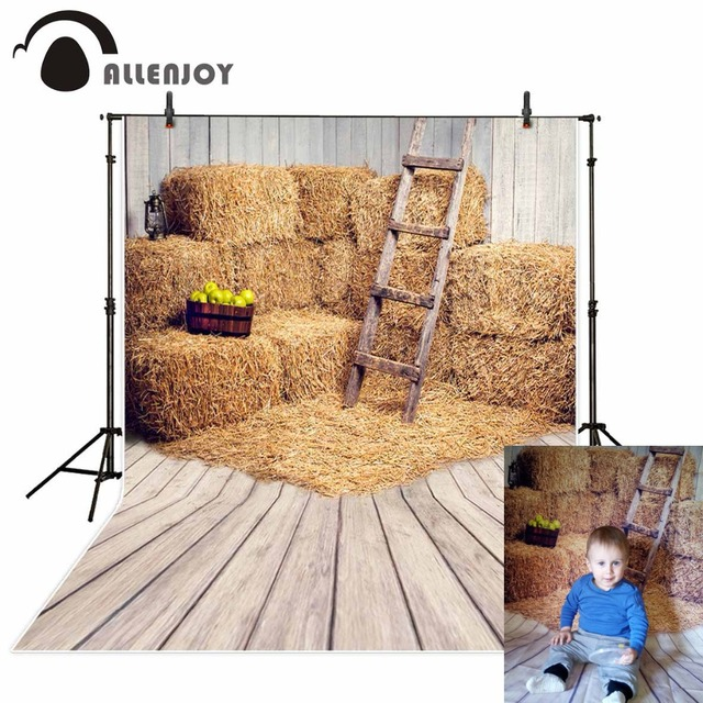 Allenjoy vinyl photography backdrop Nature Real Barn Straw Apple Photo new background photocall customize vintage background