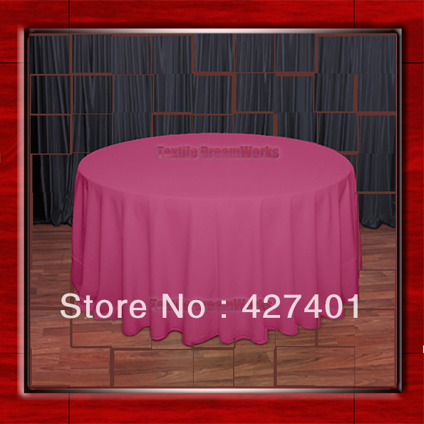 108Round Fuchsia Pink 210GSM Polyester plain Table Cloth For Wedding Events & Party Decoration(Factory Direct Sales)