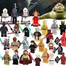 Star wars action figure Darth Vader Jar Jar Binks K3PO Han Solo R2-D2 BB-8 clone trooper Stormtrooper Ewok building blocks toys