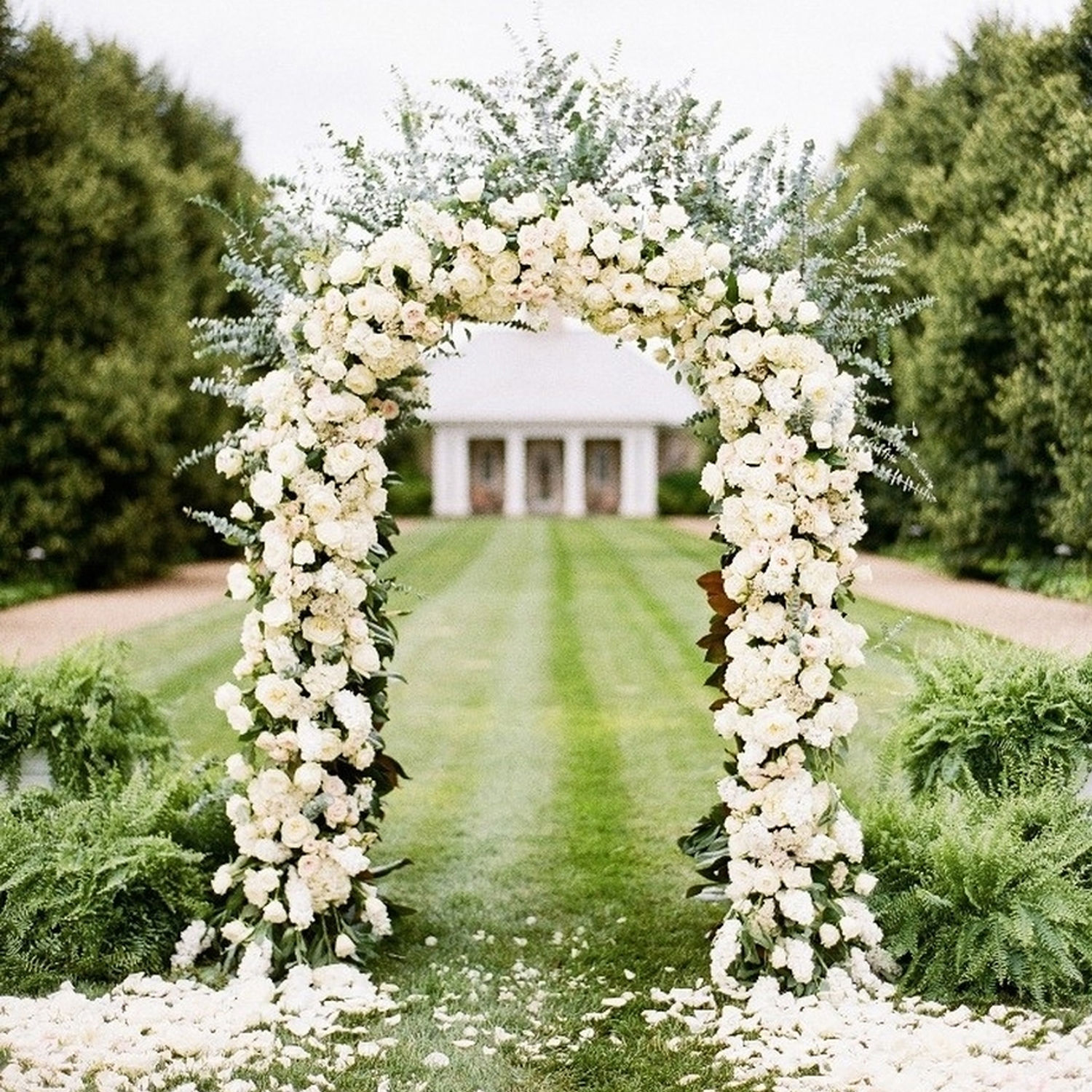 Wedding Arch Flowers Diy: White Metal Wedding Arch Garden Decoration Bridal Party
