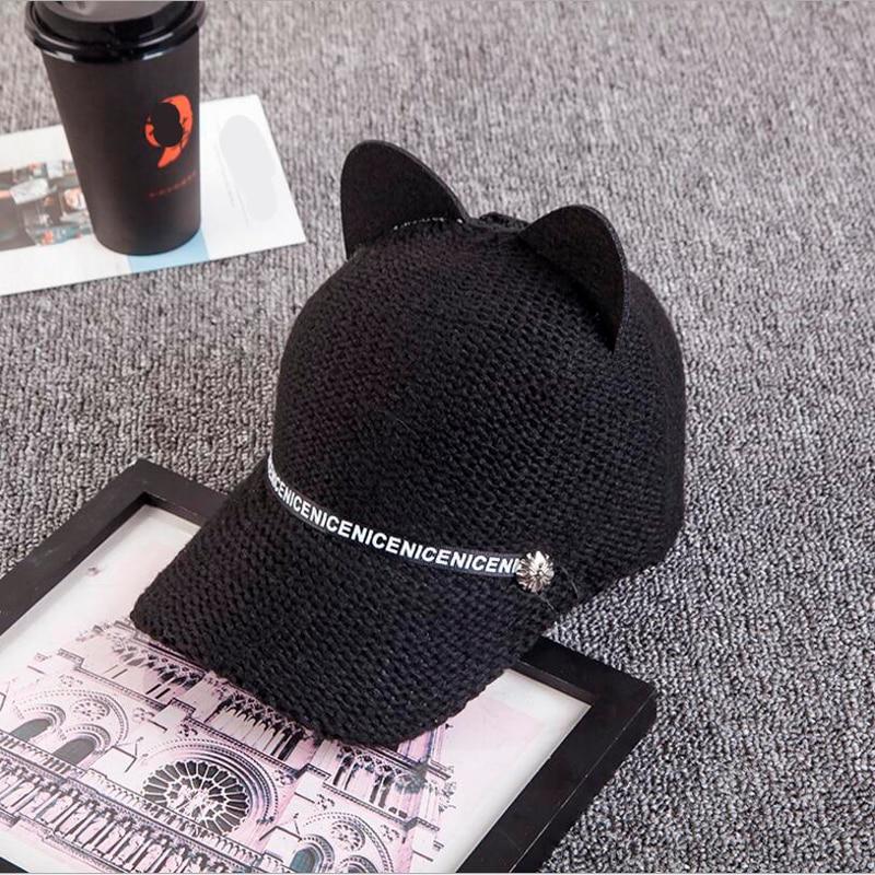 2018 New Fashion personality autumn and winter women's cat ears baseball cap wool knit baseball hat hot cute hat 5
