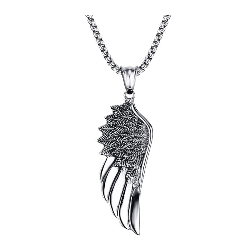 """Férfi choker rozsdamentes acél vintage gótikus toll angyal szárny medál nyaklánc ezüst tónus Kettingen Kolye ékszerek 24 """""""