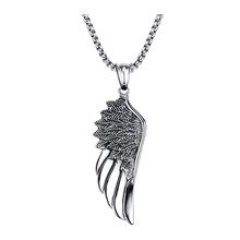 Men Choker Stainless Steel Vintage Gothic Feather Angel Wing Pendants Necklace Silver Tone Kettingen Kolye Jewelry