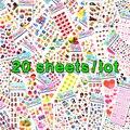 20 Hojas Lots Al Por Mayor Kawaii Emoji Recompensa Niños Niños Juguetes Burbuja Scrapbooking Puffy Pegatinas de Ventas Directas de la Fábrica 0001-m20
