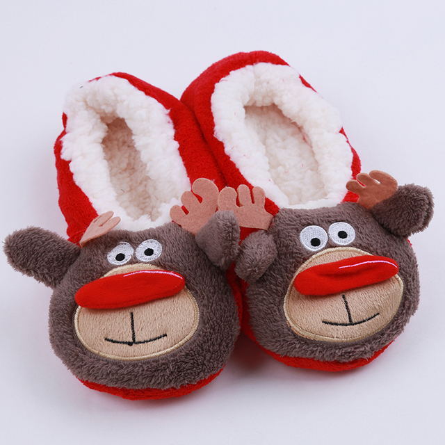 hengsong 2018 new warm flats soft sole women indoor floor slippers shoes christmas cartoon animal shape - Red Shoes Christmas Song