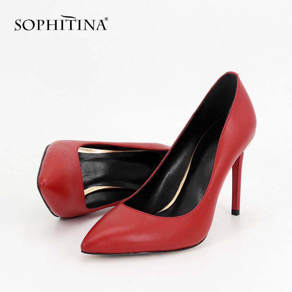SOPHITINA Wedding Shoes Fashion Red Genuine Leather Pointed Toe Pumps For Girl Gold Wire 10CM Thin Heels Party Pumps Woman MC43