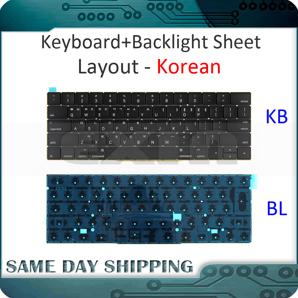 New for MacBook Pro 13.3 Retina A1706 South Korean Korea Keyboard w/ Backlight Backlit 2016 2017 MLH12 MPXV2 EMC3071 EMC3163 new a1706 keyboard uk english eu euro backlit backlight for macbook pro 13 3 retina 2016 2017 mlh12 mpxv2 emc3071 emc3163