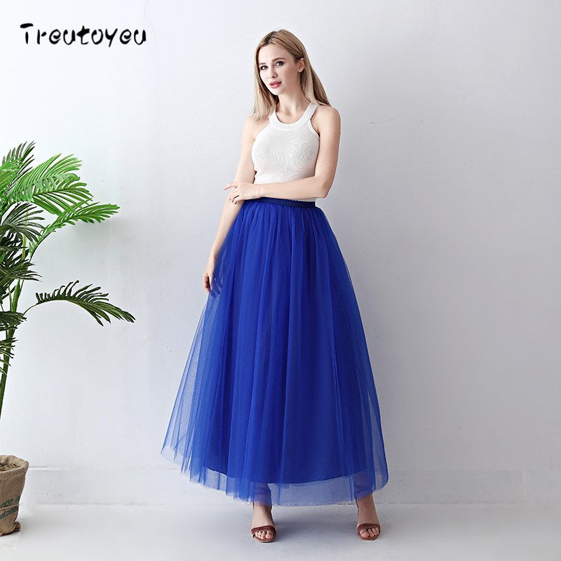Image 3 - Treutoyeu 5 Layers Maxi Long Women Skirt Tulle Skirts Bridesmaid Wedding Skirt Free Size Faldas Saias Femininas Jupe-in Skirts from Women's Clothing