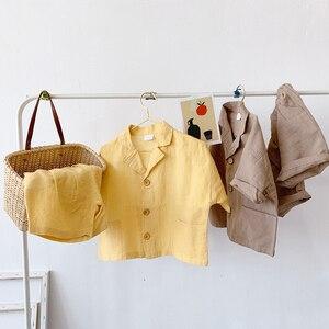 Комплект детской одежды в Корейском стиле из хлопка и льна, однобортная рубашка и шорты для маленьких мальчиков, комплект из 2 предметов