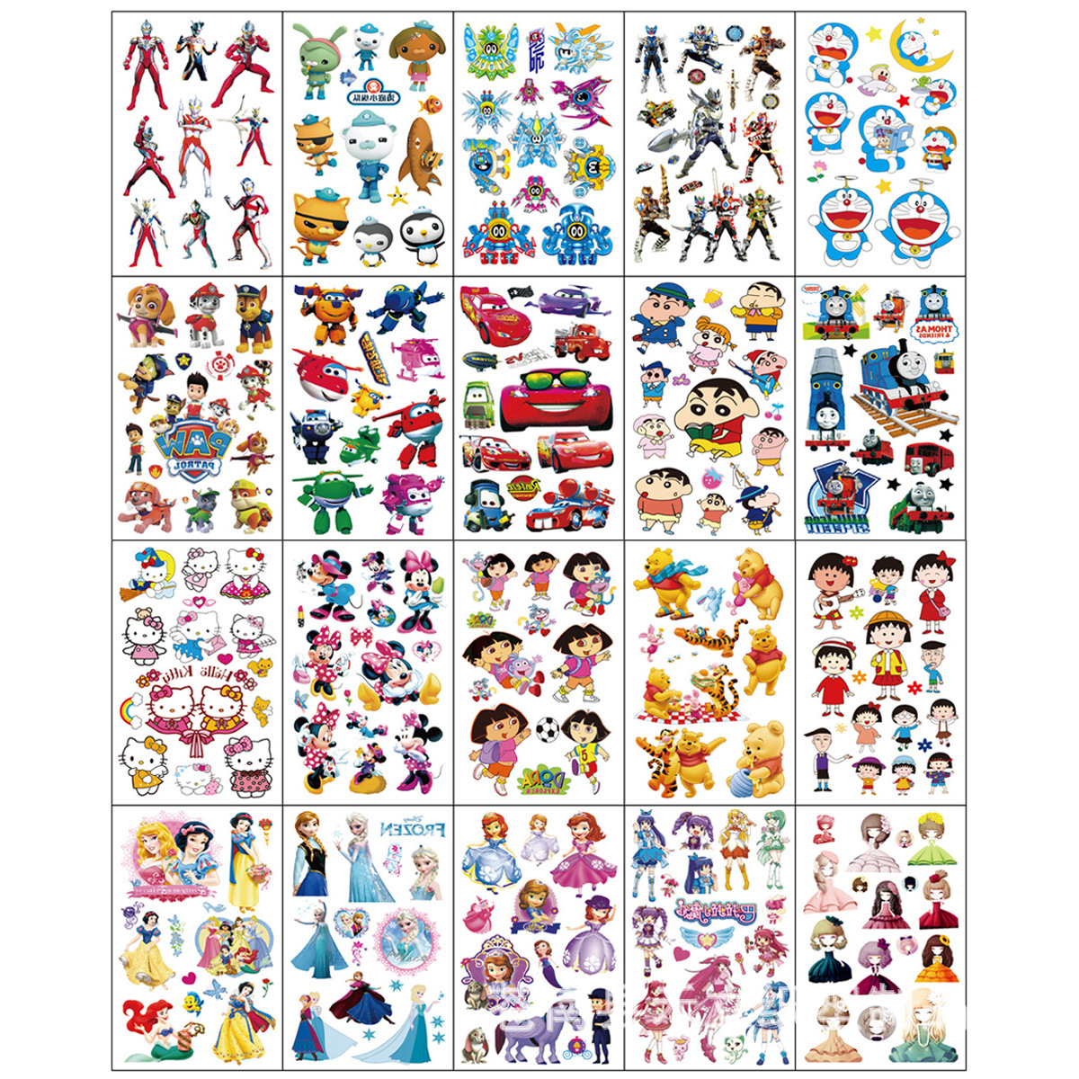 20pcs/set Fake Tattoo Waterproof Cartoon Temporary Tattoo Sticker Kids Tattoo Body Art Tatouage Enfant
