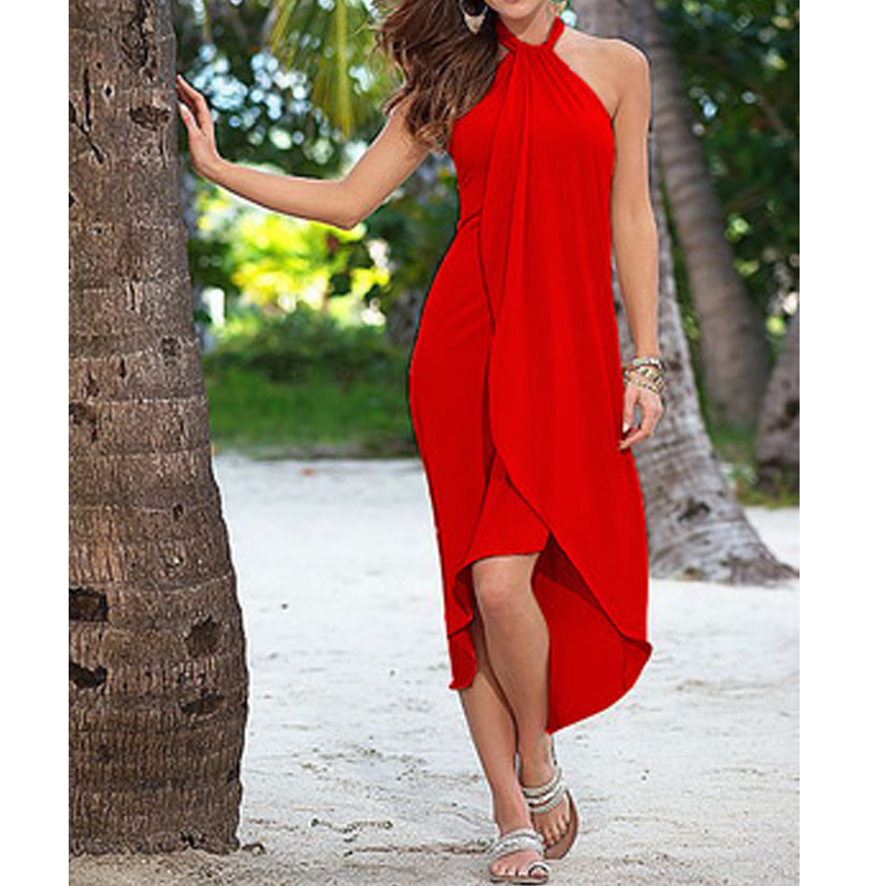 2018 Summer Halter Beach Dress Women Loose Red Vestidos Casual Sexy Irregular Swing Party Midi Dresses Black Party Robe
