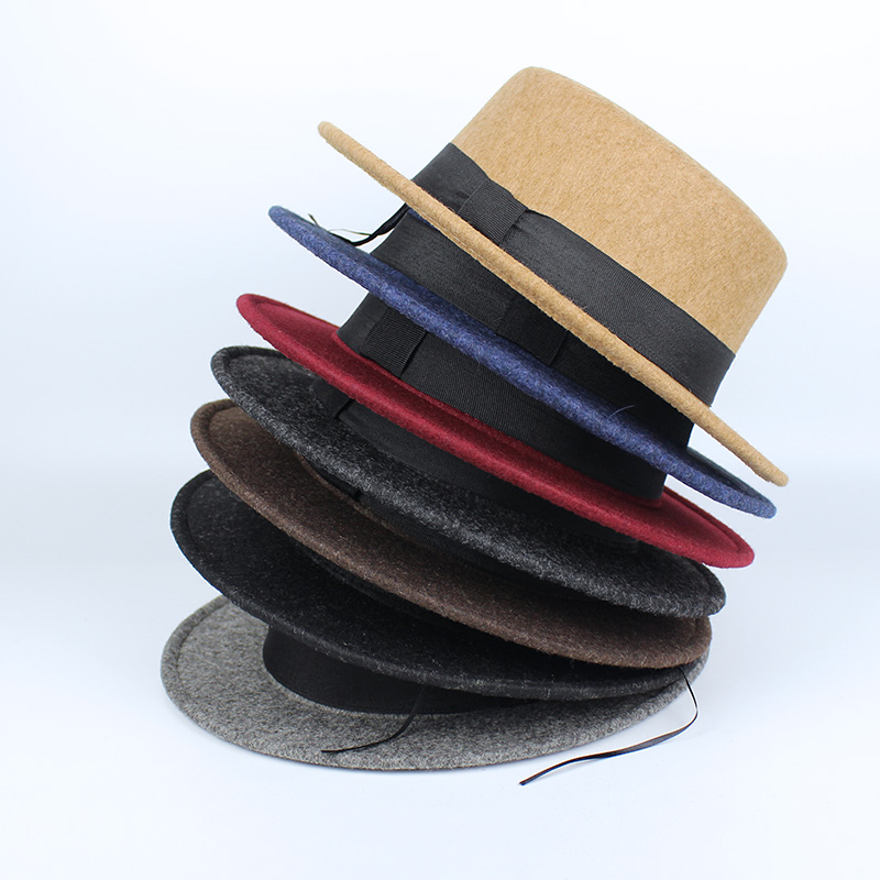 5382d900816 New Pork Pie Hat Men Tan Wool Fedora Hats Winter Bowler Women Brown Felt  Fedoras Hat Ribbon Bowknot Top Woolen Caps Wholesale-in Fedoras from  Apparel ...
