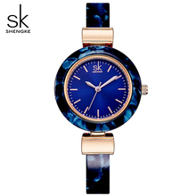 SHENGKE Women Popular Blue Watches Bangles Women Creative Charming Chain Style Clock Quartz Wristwatches Ladies Dress Watch 2018
