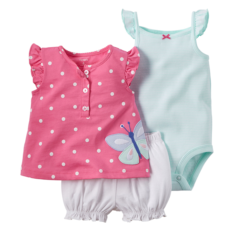 3pcs/set Butterfly applique Baby Clothing Girl Children Bodysuit Newborn Wear Kit Suit Infant Baby Girl Clothes Costume Outfit